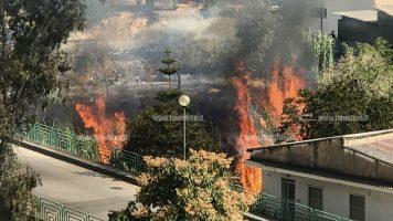 Lamezia: incendio nei pressi del torrente Canne minaccia abitazioni, intervengono vigili del fuoco